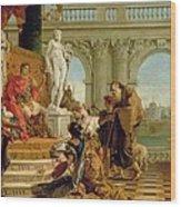 Maecenas Presenting The Liberal Arts To The Emperor Augustus Wood Print by Giovanni Battista Tiepolo