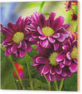 Magenta Flowers Wood Print by Chuck Staley