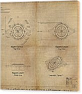 Magneto System Blueprint Wood Print by James Christopher Hill
