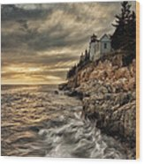 Maine Lighthouse Wood Print by Chad Tracy
