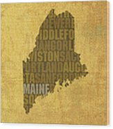 Maine Word Art State Map On Canvas Wood Print by Design Turnpike