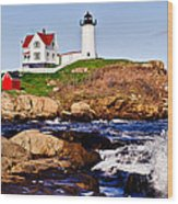Maine's Nubble Light Wood Print by Mitchell R Grosky