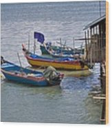 Malaysian Fishing Jetty Wood Print by Louise Heusinkveld