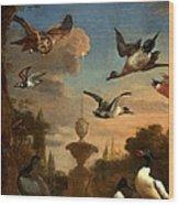 Mallard Golden Eagle Wild Fowl In Flight Wood Print by Melchior de Hondecoeter