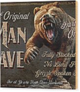 Man Cave Grizzly Wood Print by JQ Licensing