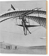 Man Gliding In 1883 Wood Print by Underwood Archives