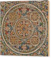 Mandala Of Heruka In Yab Yum And Buddhas Wood Print by Lanjee Chee