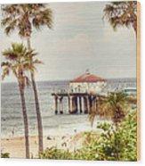 Manhattan Beach Pier Wood Print by Juli Scalzi