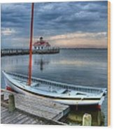 Manteo Waterfront 2 Wood Print by Mel Steinhauer