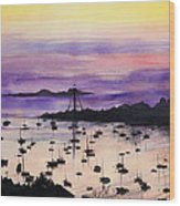 Marblehead Sunset Watercolor Wood Print by Michelle Wiarda