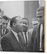 Martin Luther King Jnr 1929-1968 And Malcolm X Malcolm Little - 1925-1965 Wood Print by Marion S Trikoskor