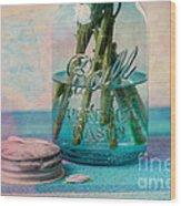 Mason Jar Vase Wood Print by Kay Pickens