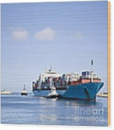 Massive Container Ship Entering River Mouth Assisted By Two Tugs Wood Print by Colin and Linda McKie
