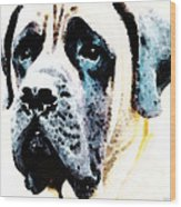 Mastif Dog Art - Misunderstood Wood Print by Sharon Cummings