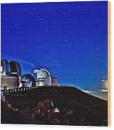 Mauna Kea At Moon Rise Wood Print by Bob Kinnison