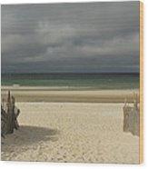 Mayflower Beach Storm Wood Print by Amazing Jules