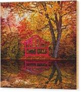 Meet Me At The Pond Wood Print by Debra and Dave Vanderlaan