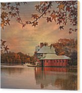 Meeting At The Lodge Wood Print by Robin-lee Vieira