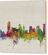 Memphis Tennessee Skyline Wood Print by Michael Tompsett