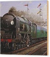 Merchant Navy Pacific At Brookwood. Wood Print by Mike  Jeffries