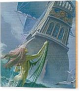 Mermaid Seen By One Of Henry Hudson's Crew Wood Print by Severino Baraldi