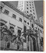 Miami Freedom Tower 1 - Miami - Florida - Black And White Wood Print by Ian Monk