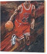 Michael Jordan Chicago Bulls Basketball Legend Wood Print by Christiaan Bekker