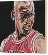 Michael Jordan The Intimidator Wood Print by Israel Torres