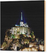 Midnight Mont Saint Michel Wood Print by Olivier Le Queinec