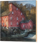 Mill - Clinton Nj - The Old Mill Wood Print by Mike Savad