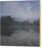 Misty Morning Wood Print by Aaron S Bedell