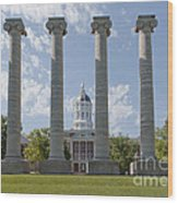 Mizzou Jesse Hall And Columns Wood Print by Kay Pickens