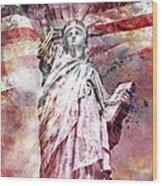 Modern Art Statue Of Liberty Red Wood Print by Melanie Viola