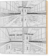 Modern Hall Wood Print by Nenad Cerovic