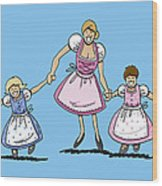 Mom With Daughters Wearing Dirndl Wood Print by Frank Ramspott