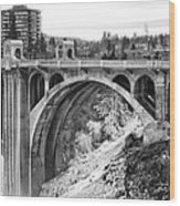 Monroe Street Bridge Iced Over - Spokane Washington Wood Print by Daniel Hagerman