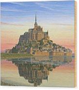 Mont Saint-michel Morn Wood Print by Richard Harpum