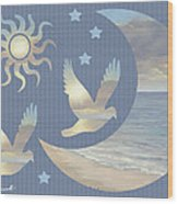 Moon And Stars Wood Print by Diane Romanello