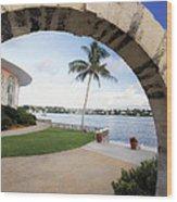 Moon Gate In Bermuda Wood Print by George Oze