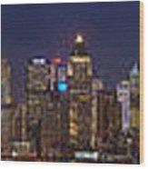 Moon Over Manhattan Wood Print by Mike Reid