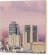 Moon Over Nashville Wood Print by Amy Tyler