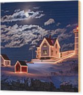 Moon Over Nubble Wood Print by Michael Blanchette