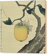 Moon Persimmon And Grasshopper Wood Print by Katsushika Hokusai