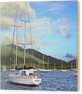 Moored To Relax Wood Print by Michael Glenn