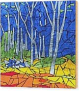 Mosaic Stained Glass - My Woods Wood Print by Catherine Van Der Woerd