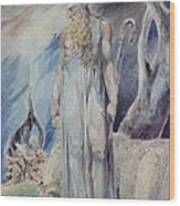Moses And The Burning Bush Wood Print by William Blake