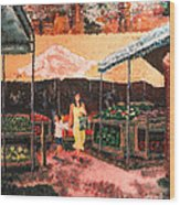 Mother And Child At The Farmer's Market Wood Print by Robert Yaeger