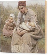 Mother And Child Wood Print by Robert McGregor