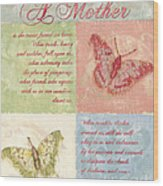 Mother's Day Butterfly Card Wood Print by Debbie DeWitt