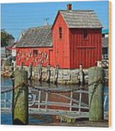 Motif Number One Rockport Lobster Shack Maritime Wood Print by Jon Holiday
